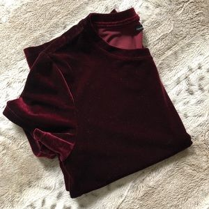 Abercrombie & Fitch Cranberry Red Faux Velvet Top